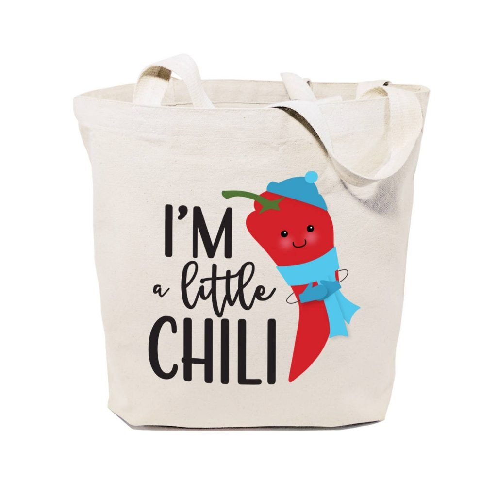 tote bag that says I'm a little chili with image of chili pepper