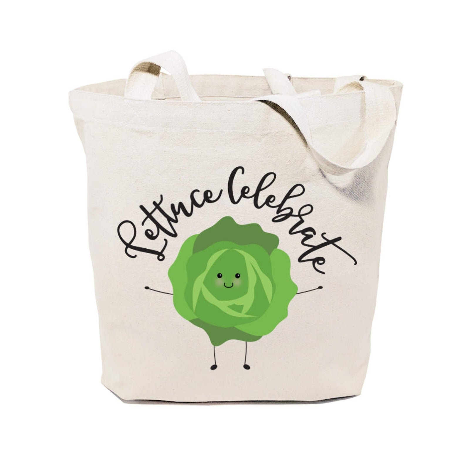 tote bag that says lettuce celebrate with lettuce on it