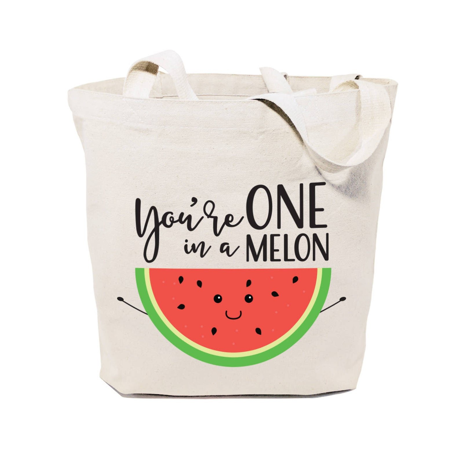 tote bag that says you're one in a melon with watermelon on it