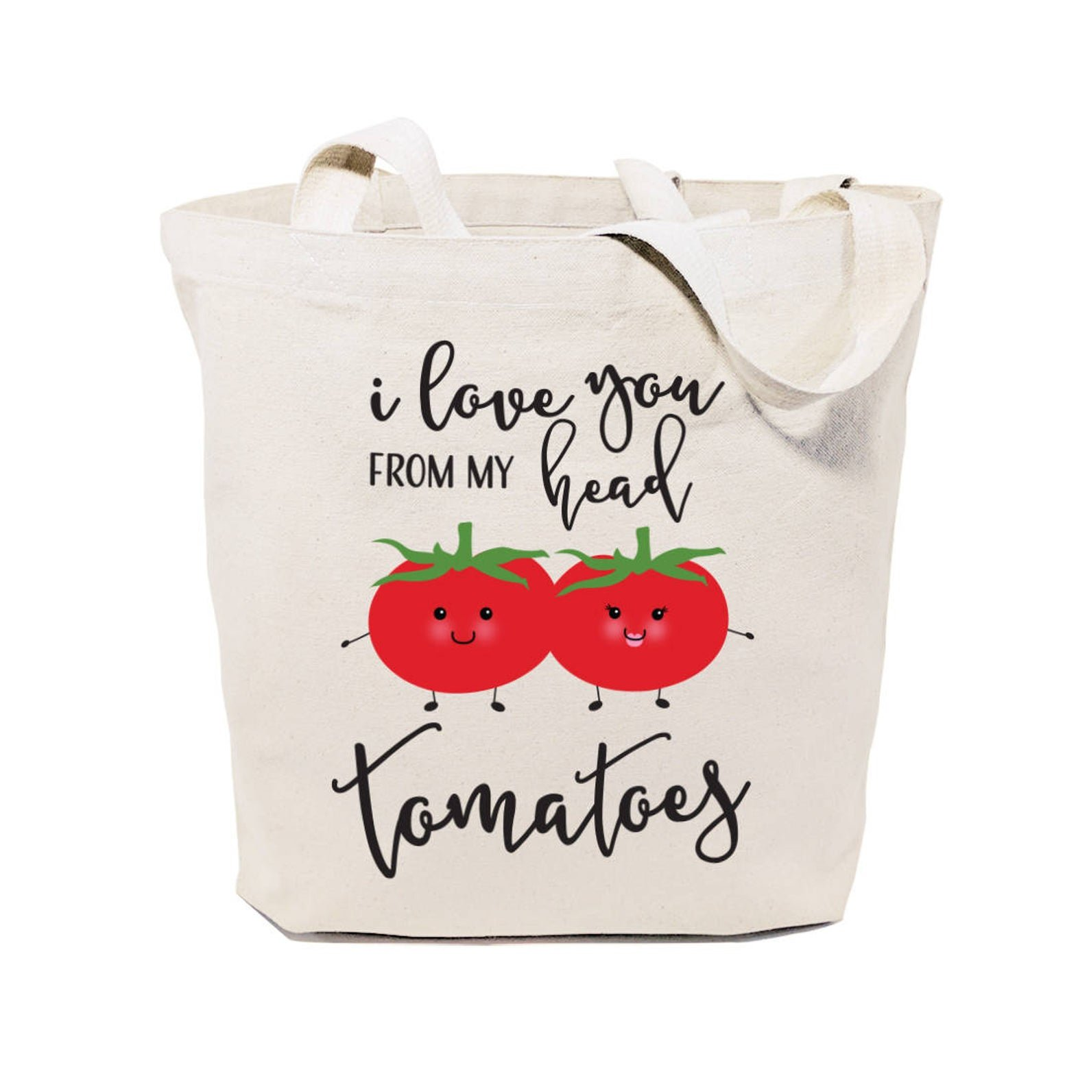 tote bag that says i love you from my head tomatoes with tomatoes on it