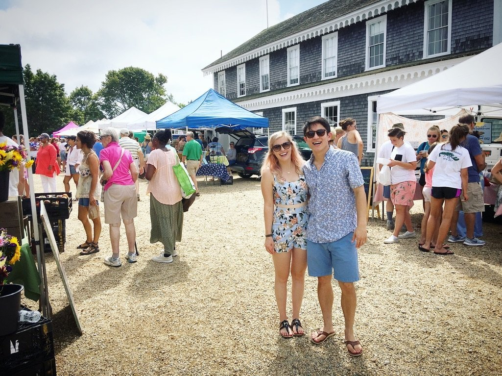 chelsea and chris at west tisbury market