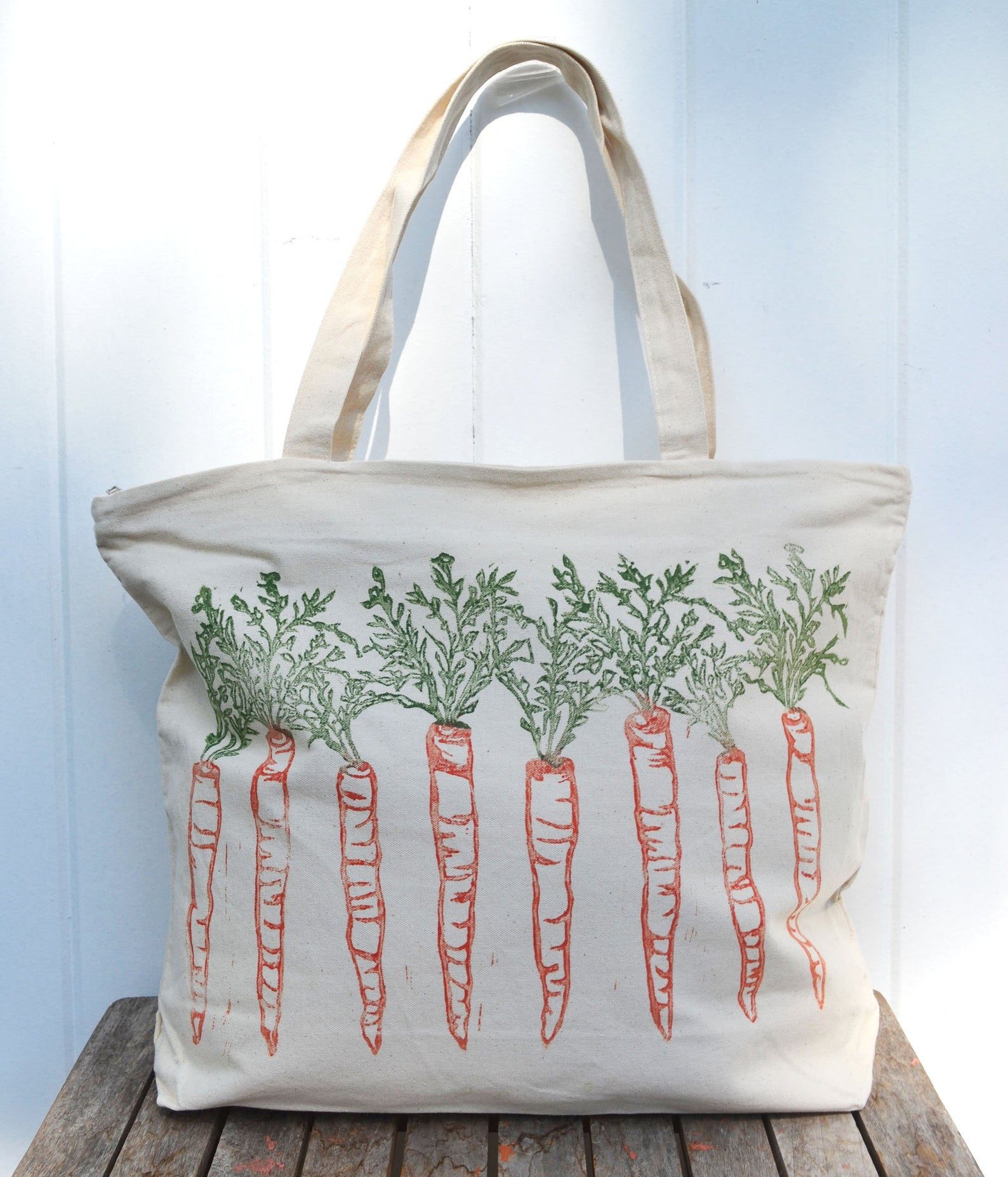 carrots on canvas bag
