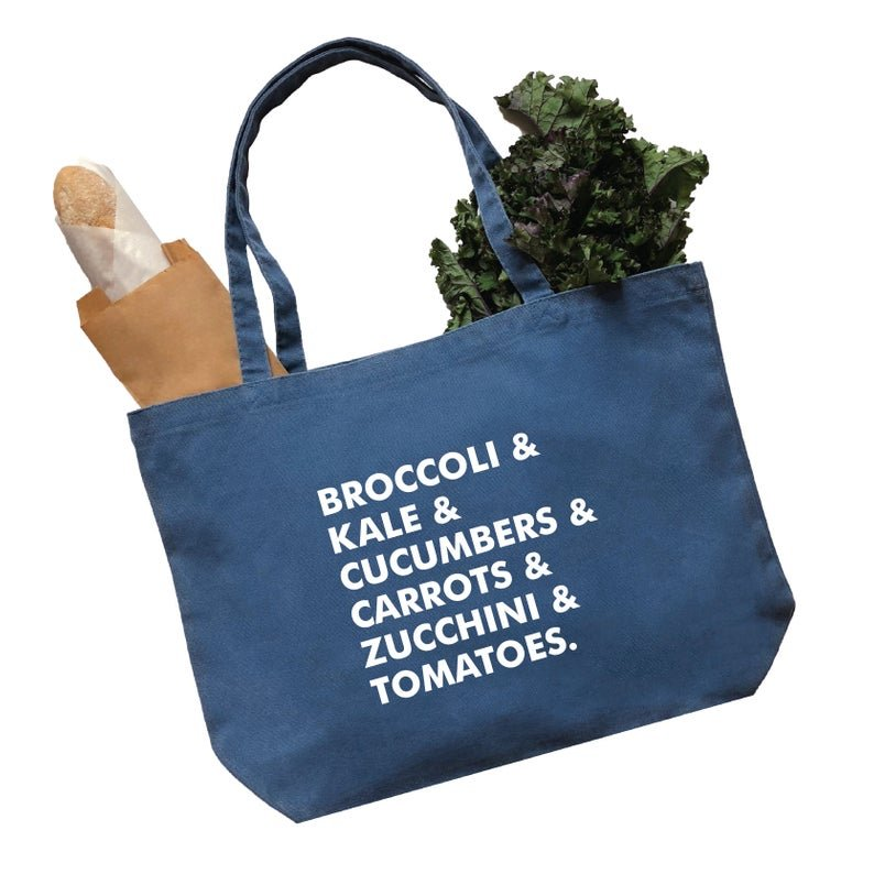 blue bag with grocery list items on it