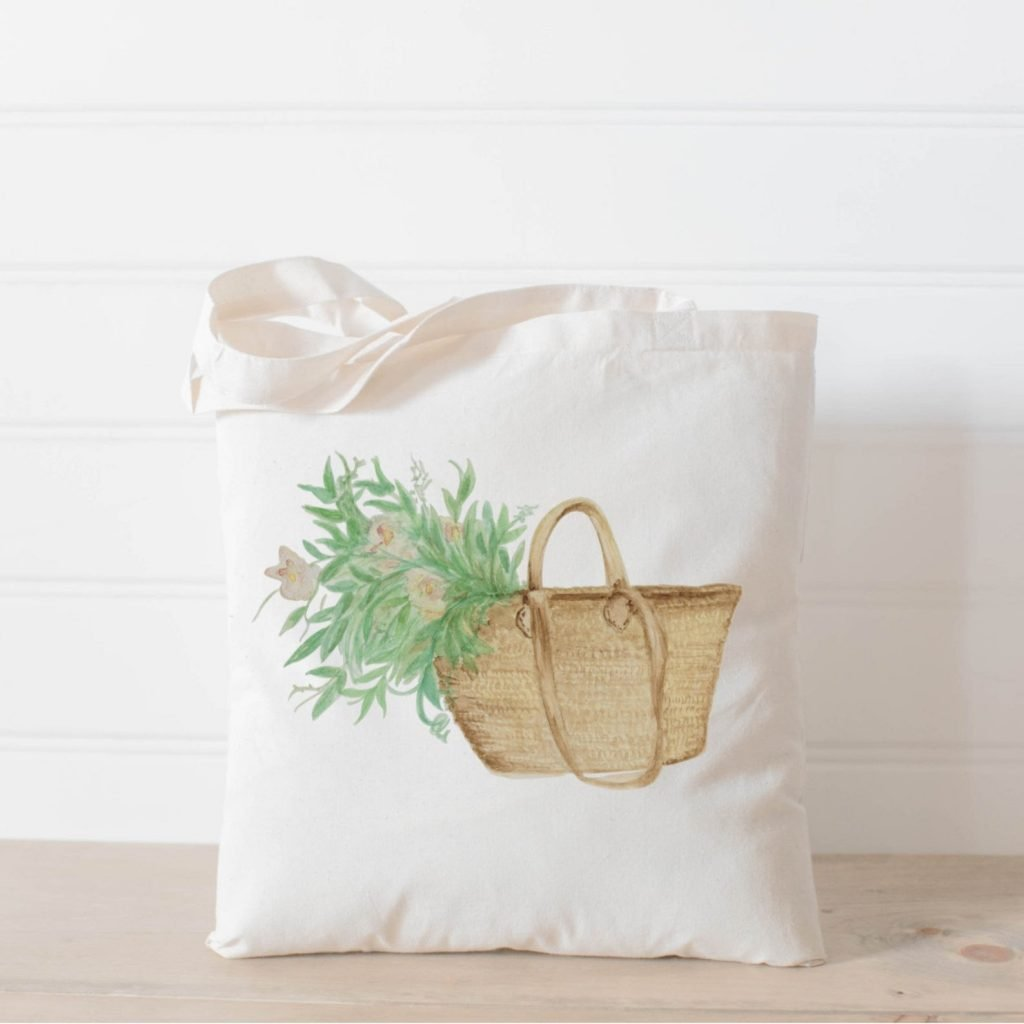 cotton tote with watercolor image of basket and flowers