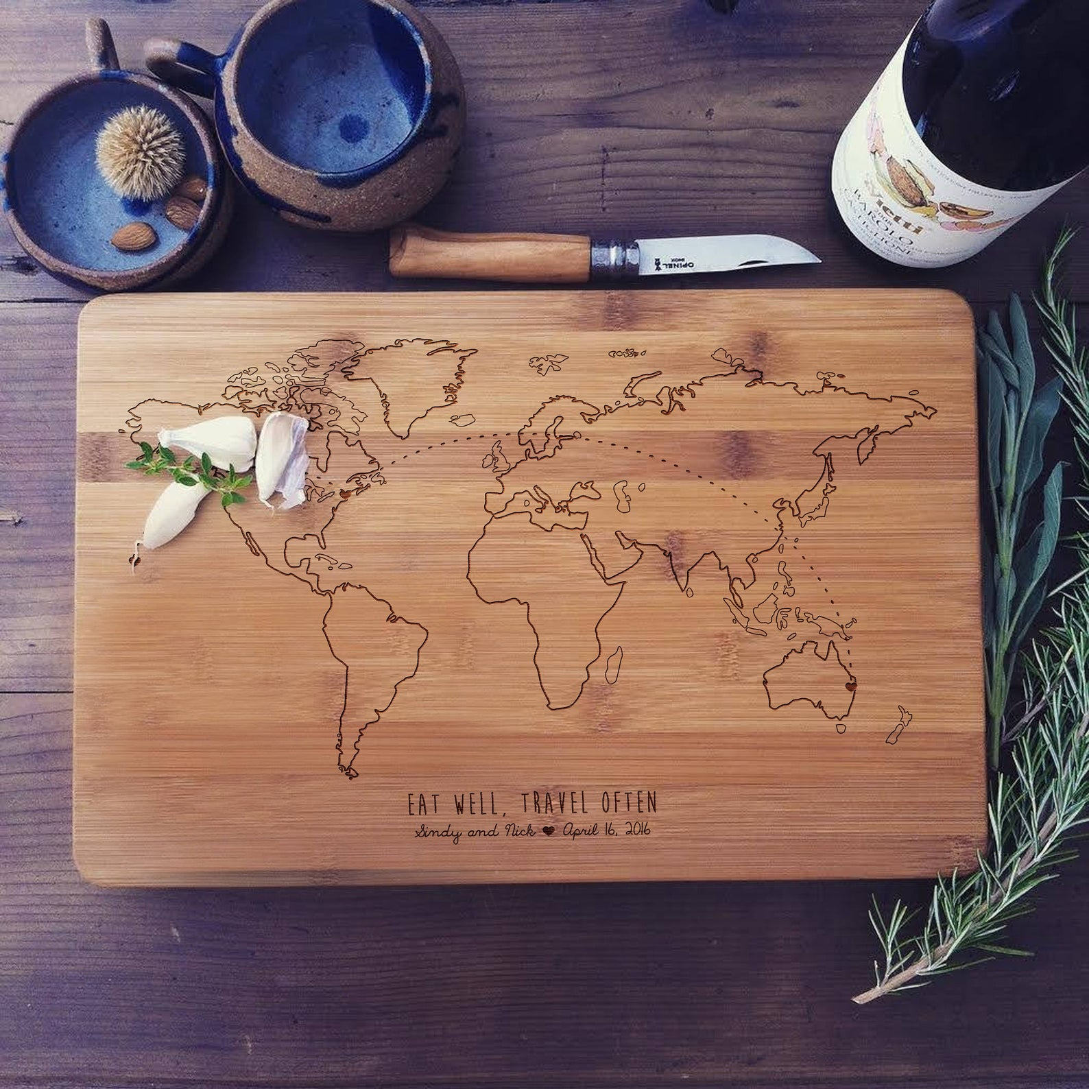 cutting board with world map on it