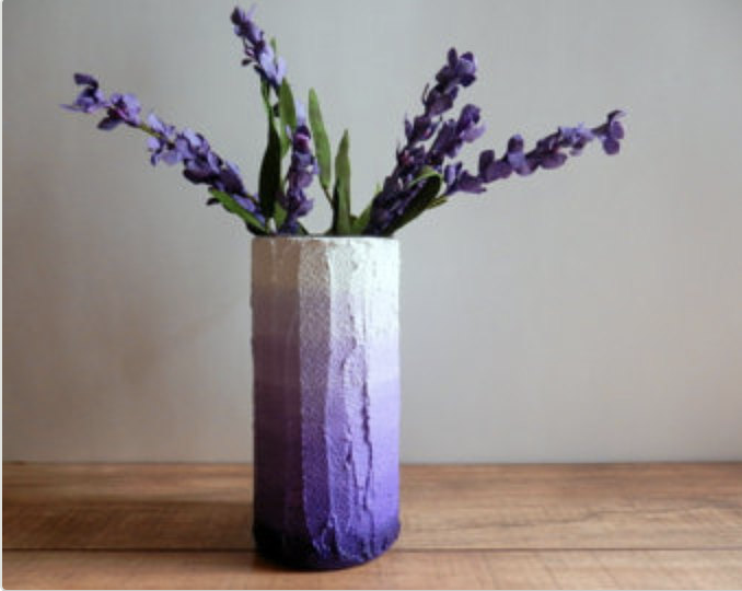 ombre purple vase with purple flowers