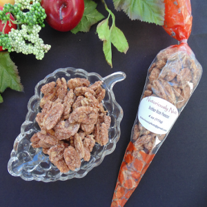 butter rum pecans in bag and on plate