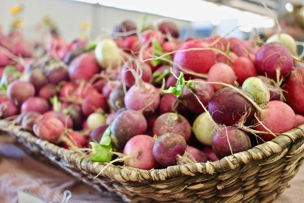 basket of colorful radishes