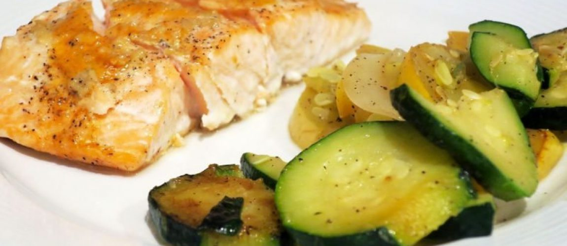 baked salmon with side