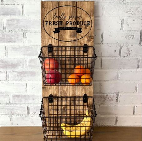 wood wall hanger with two wire baskets and words locally grown fresh produce